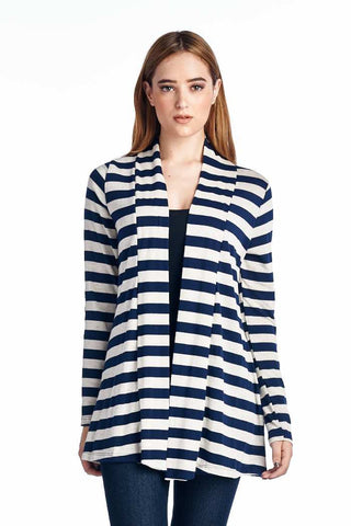 Navy Striped Hacci Cardigan with Suede Elbow Patch
