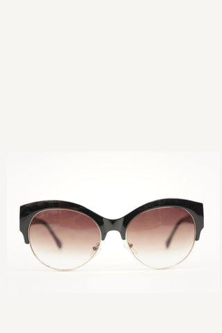 Cat Eye Sunglasses Black Frame with Brown Gradient Lense