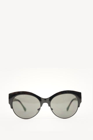 Cat Eye Sunglasses Black Frame with Green Lense