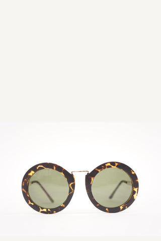 Animal Retro Round Frame Green Sunglasses