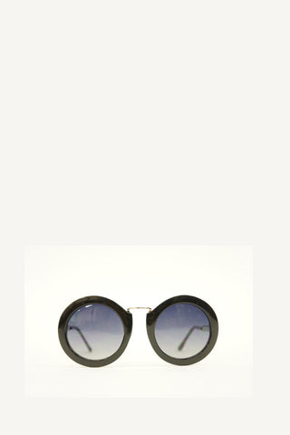 Black Retro Round Frame Blue Gradient Sunglasses