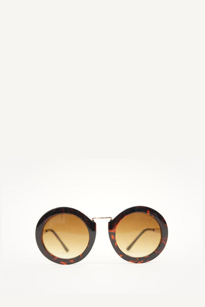 Brown Tortoise Retro Round Frame Brown Sunglasses