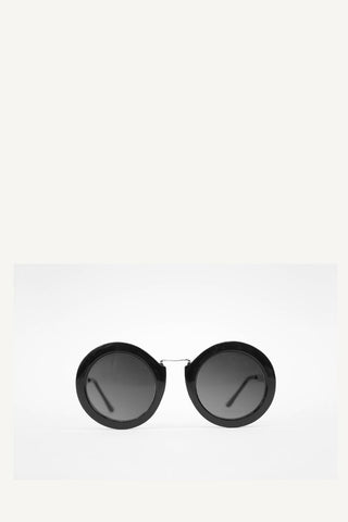 Black Retro Round Frame Grey Sunglasses