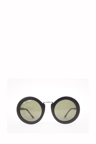 Black Retro Round Frame Green Sunglasses