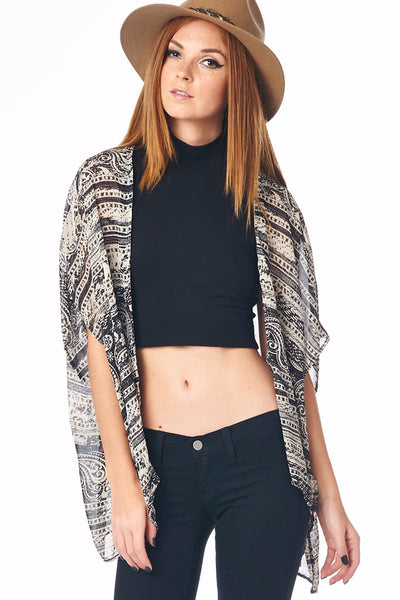 Paisley Print Cardigan with Open Front