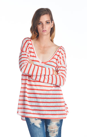 Coral Striped Boyfriend Off the Shoulder V-Neck Top