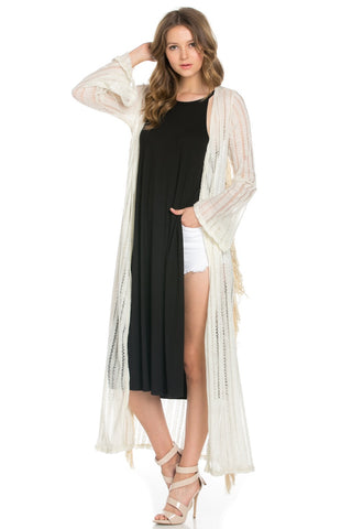 Ivory Fringe Trim Semi Sheer Long Knit Cardigan