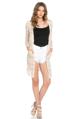 Floral Chevron Semi-sheer Textured Knit Ivory White Long Cardigan