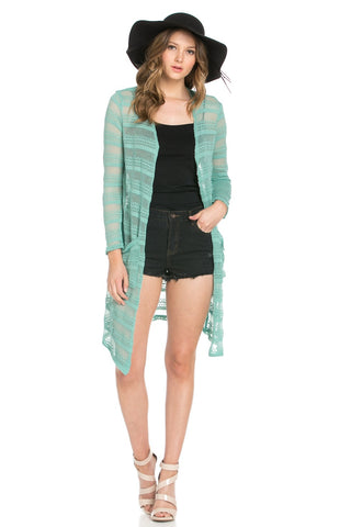 Floral Chevron Semi-sheer Textured Turquoise Long Cardigan