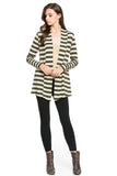 Olive Striped Hacci Cardigan With Suede Elbow Patch