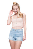 Peach Blush Soft Knit Crop Top Tank