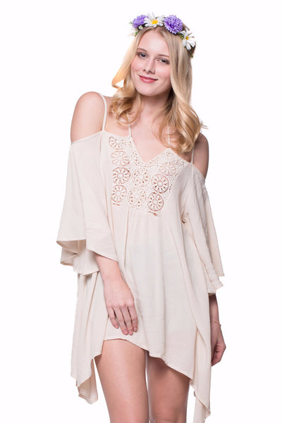 895a58366f137b Embroidered Crochet Lace Open-Shoulder Lace Up Tunic Top – Always Me