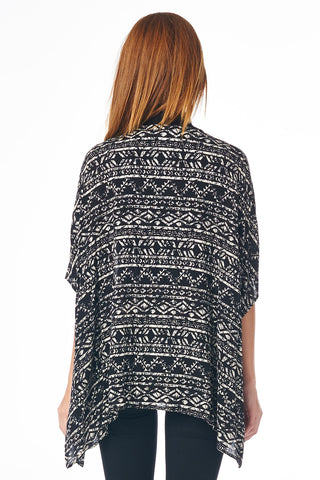 Aztec Print Cardigan with Open Front