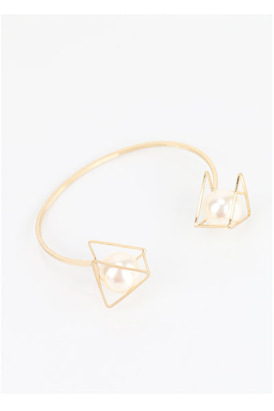 Open Triangle Pearl Cuff Bracelet Bangle in Gold
