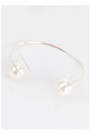 Open Triangle Pearl Cuff Bracelet Bangle in silver