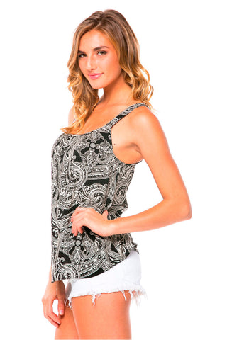 Black and White Paisley Print Tank