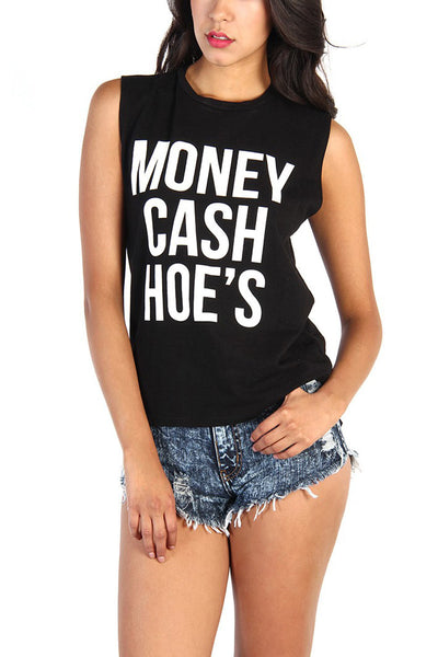 Black Money Cash Hoes Cotton Muscle Tank