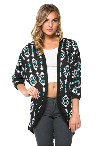 Black Tribal Print Long Knit Cardigan