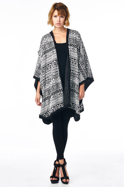 Black/White OSFA Printed Cardigan