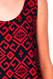 Burgundy Printed Overlap Back Tank Top