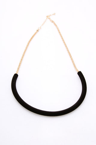 Black Curved Bar Necklace