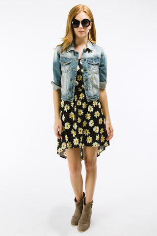 Black Daisy Print High Low Dress