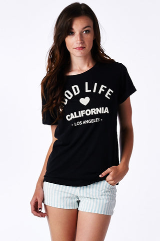 Black Good Life Cuffed Sleeve Shirt