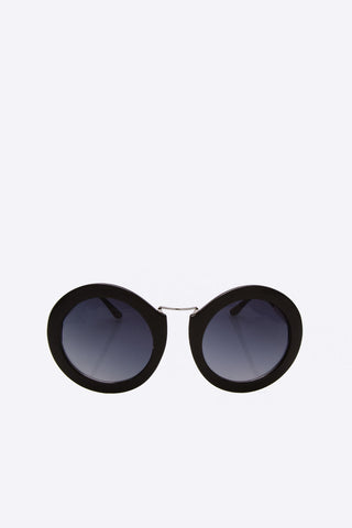 Black Retro Round Frame Black Sunglasses