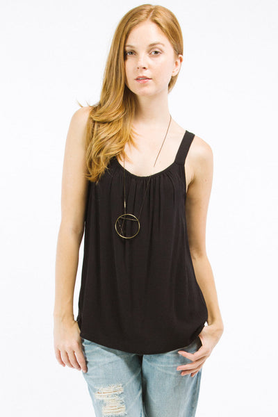Black Ruched Neck Tank