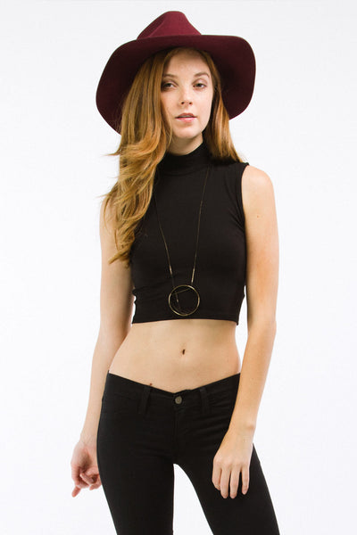 Black Sleeveless Mock Neck Crop Top