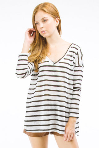 Black Striped Boyfriend Off the Shoulder V-Neck Top