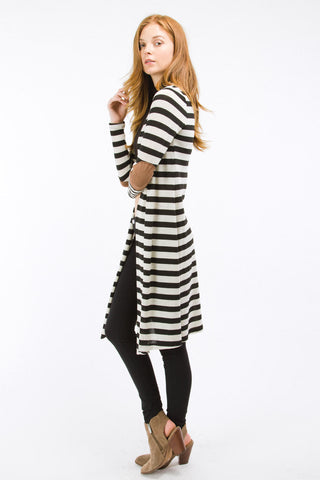 Black Striped Knee Length Cardigan with Suede Elbow Patch