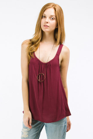 Burgundy Ruched Neck Tank