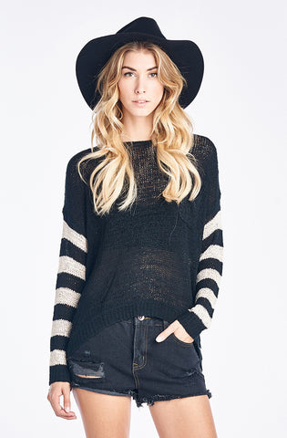 Black Striped Pullover with Button Up Back