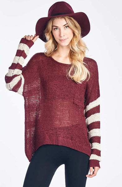 Burgandy Striped Pullover with Button Up Back