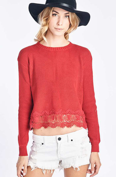 Red Knit Sweater With Lace Trim