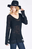 Black Knit Sweater With Flared Out Lace Trim
