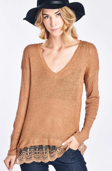 Mahogany Knit Sweater With Flare Out Lace Trim
