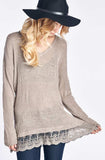 Mocha Knit Sweater With Flared Out Lace Trim