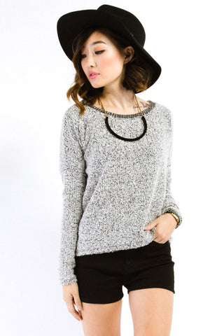 Charcoal Boucle Pullover Dolman Sweater