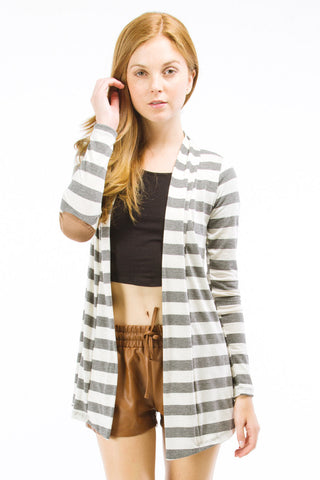 Heather Grey Striped Cardigan with Suede Elbow Patch