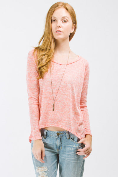 Coral High Low Long Sleeve Top