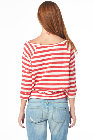Coral Striped French Terry Raglan Pullover