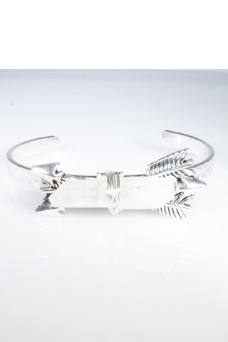 Crystal Rock Silver Antique Double Arrow Tied Bohemian Bangle Bracelet Cuff