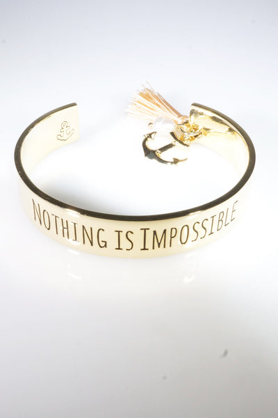 Boho Verbiage NOTHING IS IMPOSSIBLE Gold Bangle Tassel Bracelet Cuff with Anchor Charm