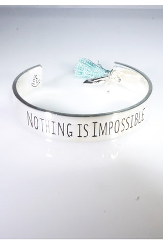 Boho Verbiage NOTHING IS IMPOSSIBLE Silver Bangle Tassel Bracelet Cuff with Anchor Charm