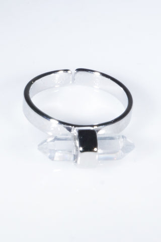 Crystal Clear Rock Simple Chic Cuff Ring Silver