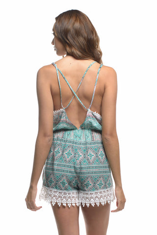 Festival Classic Crochet Lace Trim Geo-Tribal Print Cross back Surplice Romper