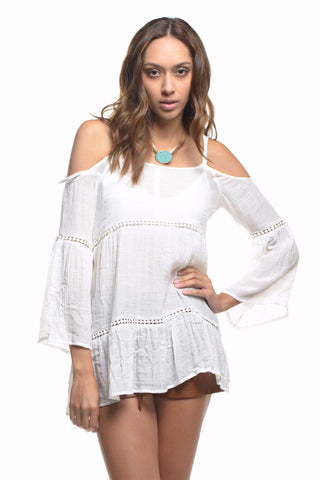 White Crochet Lace Bell Sleeve Cold Shoulder Tunic Top