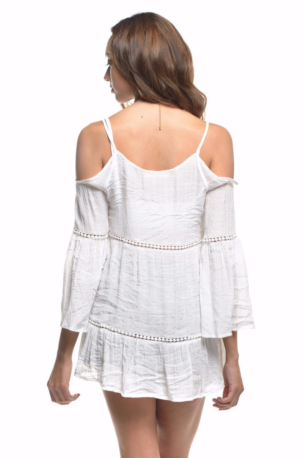 9b68b0345f5858 White Crochet Lace Bell Sleeve Cold Shoulder Tunic Top – Always Me